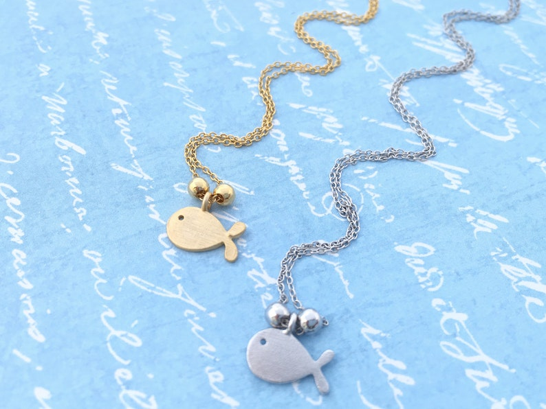 Fish Necklace \u2022 Children Necklace \u2022 Matte Finished Tiny Breathing Goldfish \u2022 Dainty Necklace \u2022 Handmade \u2022 Good for Children/'s Birthday Gift