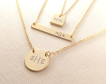 Monogram Necklace • Modern Style • First - Last - Middle Name Initials • HAND Stamped or Manually Engraved• Great Gift for All Occasions