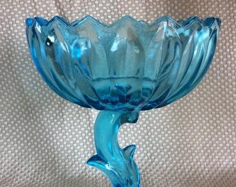 Vintage Indiana glass compote dish Lotus flower stem bowl 1970