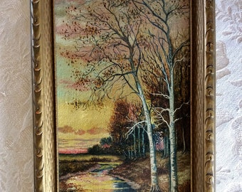 Small original signed oil painting fall country side scene near forest
