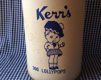 Vintage Kerrs lollipops confectionery candy display barrel country store display French Quebec