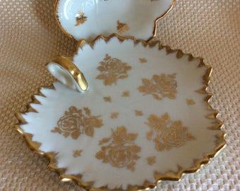 Vintage Limoges France small dish plate porcelaine de France leaf gold gilded Nice