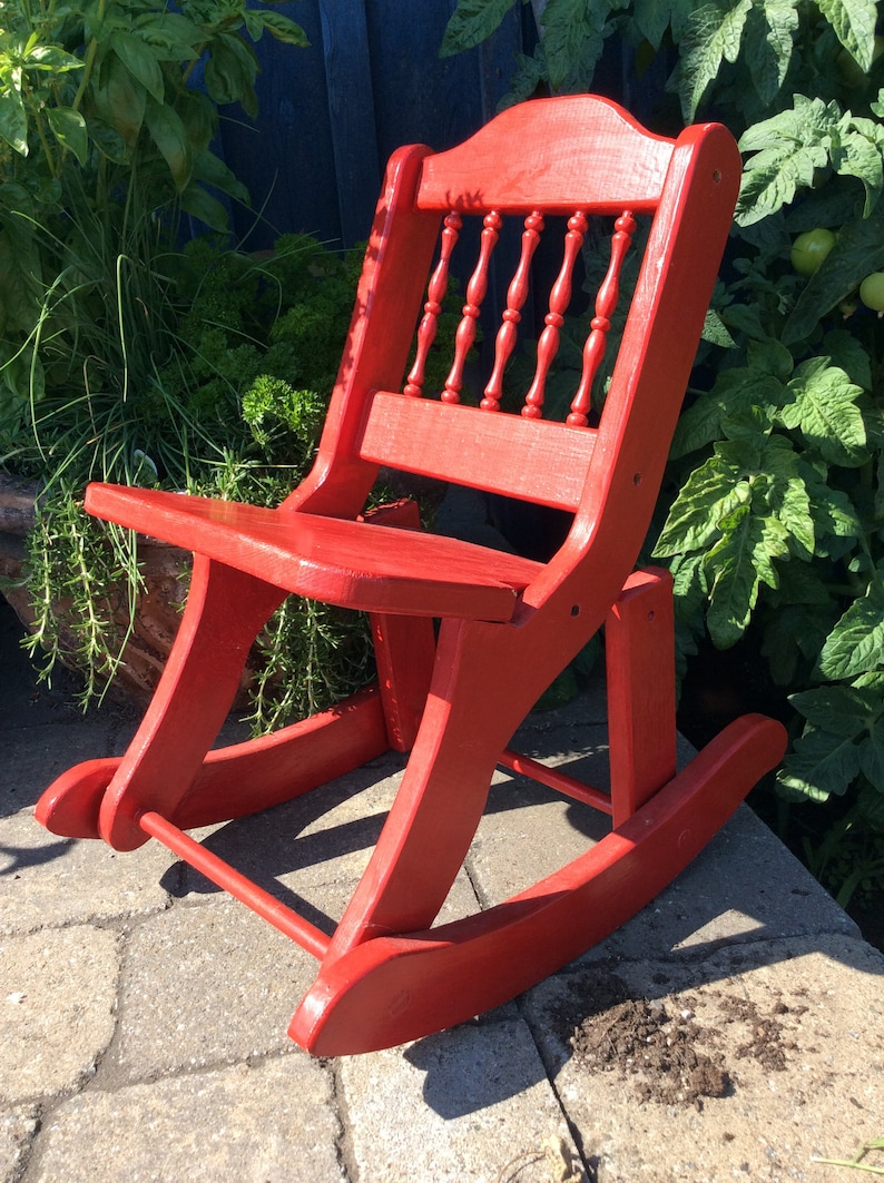 Marvelous Antique Child Size Wood Rocking Chair Original Red Paint Lamtechconsult Wood Chair Design Ideas Lamtechconsultcom