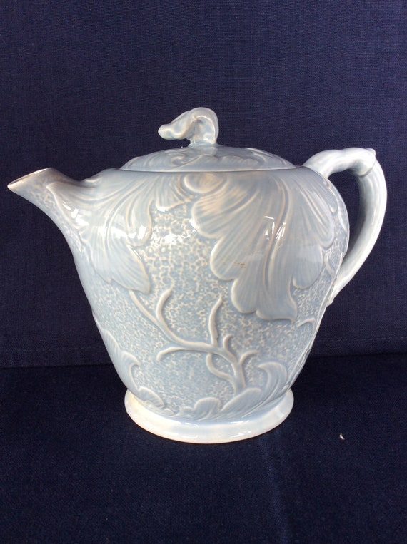 Vintage SylvaC ceramic teapot and bowl nice soft blue and leaves pattern