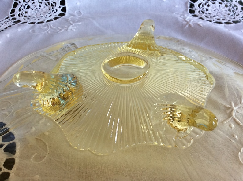 Antique yellow Elegant glass Depression era footed Lancaster cake plate or stand scalloped edge