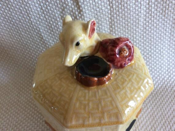 Vintage ceramic Humidor pipe tobacco jar canister Japan dog head lid No chip