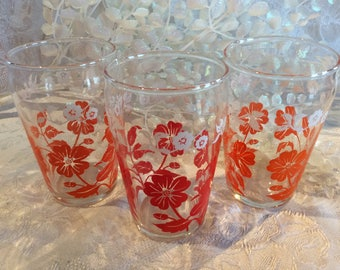 Vintage 3 water juice 6 oz tumblers Swankyswigs style red and orange flower pattern