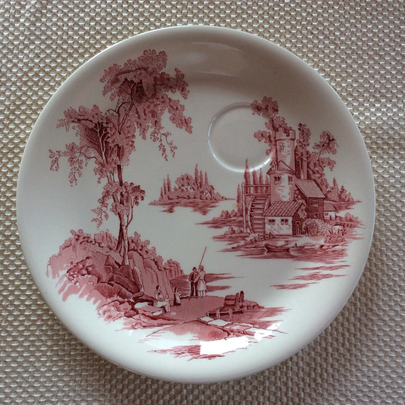 Johnson Bros sandwich plate The old mill collection red