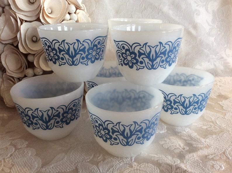 Vtg Federal glass tulip custard cups retro utility kitchen ware berry bowl