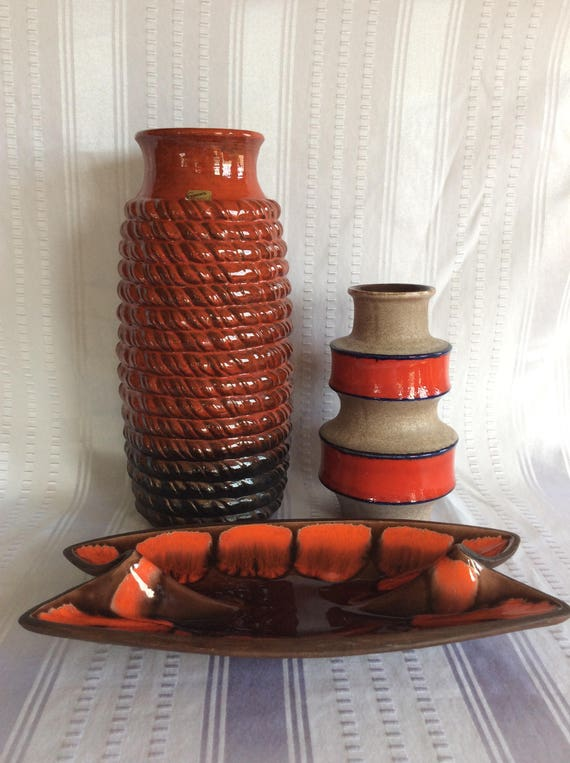Stunning W Germany Floor Vase Carstens Red Clay Modernist Etsy