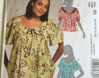 3b241183355c Sewing pattern misses' women's peasant top, McCall's 5589, size 8 10 12 14  16, uncut and factory folded, raglan sleeve, pleated, button down