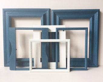 Gallery Wall Frames - Gallery Wall Set, Annie Sloan, Old White, Picture Frame Wall, Aubusson Blue, Gallery Wall, Recycled Frames.