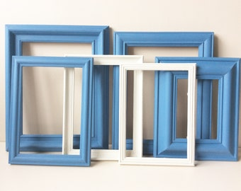 Gallery Wall Frame Set - Gallery Wall Frames, Gallery Wall Set, Annie Sloan, Greek Blue, Old White, Gallery Wall,  Frames, Recycled Frames.