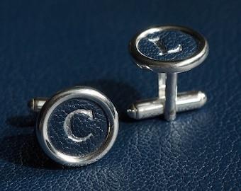 Sterling Silver Personalised Cufflinks, wedding cufflinks, leather cufflinks, luxury cufflinks, 3rd anniversary gift, groomsmen gift,