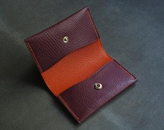Burgundy and orange card holder, wallet, leather wallet, leather card holder, wallet, leather gift, personalised leather, edc