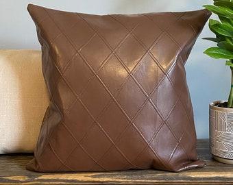 Faux Leather Pillow Cover, Modern Pillow, Brown Decorative Pillow, Sofa Pillow, Lumbar Pillow, Farmhouse Decorative Throw Pillow Cover 18x18