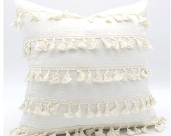 Fringe Pillow Cover, Bohemian Pillow, Boho Decorative Linen Throw, Boho Pillow Cover, Tassel Pillow Cover, Textured Pillow, Home Decor 18x18