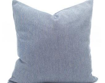 Denim Stripe Pillow Cover, Blue Decorative Throw Pillow, Bohemian Pillow, Lumbar, Sofa Pillow, Pillow Cover 18x18