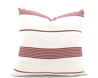 Striped Pillow Cover, Decorative throw, Bohemian Pillow, Farmhouse Linen Throw Pillow Cover, White w/ Thin Red Stripes 18x18