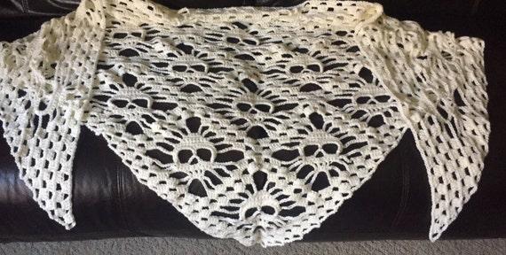 Crocheted Skull Shawl Etsy