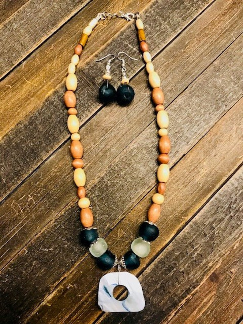 Women Glass Earrings Boho Surfer Recycled Glass Jewelry Sea Glass Necklace Shell necklace Statement Necklace Long Set Women