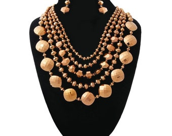 Copper Glass Beads Layered Necklace Set