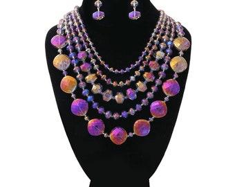 Purple Glass Beads Layered Necklace Set