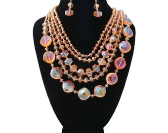 Orange Glass Beads Layered Necklace Set