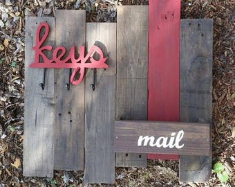 Wood Mail and Key Holder