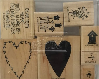 Dear To My Heart - Stampin' Up! -  Wood Mounted Rubber Stamp set - Retired - Vintage