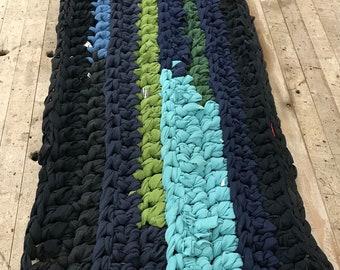 Rag Rug - Crocheted Fabric Rug - Blue and Green - Runner - Braided Rug - Braided Rag Rug - Crocheted Rag Rug Runner