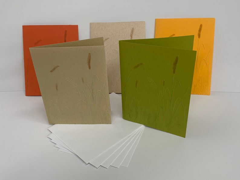 Blank Note Cards Reeds Bulrush Reedmace Raupo Punks Autumn Wheat Set of 5 Cards with Envelopes 5.5 x 4.25 Cattails Embossed Cards
