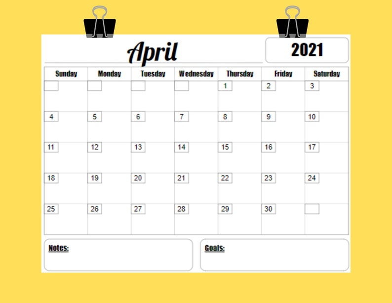2021 Calendar Printable Template 12 Month 8.5 x 11 INSTANT ...