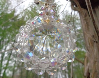 "Handmade (2018) Sun Catcher 8"" made with Vintage Clear and Aurora Borealis Swarovski Crystal Elements, Recycled Brass Chain."