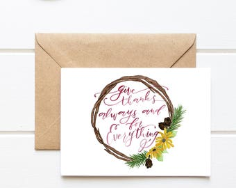 PHYSICAL/Thanksgiving/Give Thanks Always/BlankGreeting Card