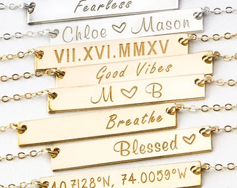 Personalized Gold Bar Necklace, Bar Name Necklace, Initial Custom Necklace, in Gold Filled, Sterling Silver, Monogram