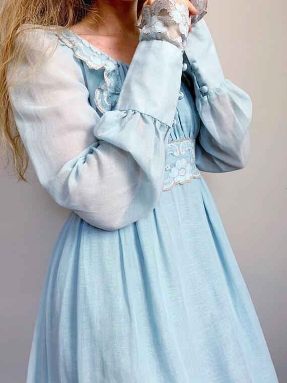 Vintage blue Gunne Sax dress   maxi prairie dress… - image 4