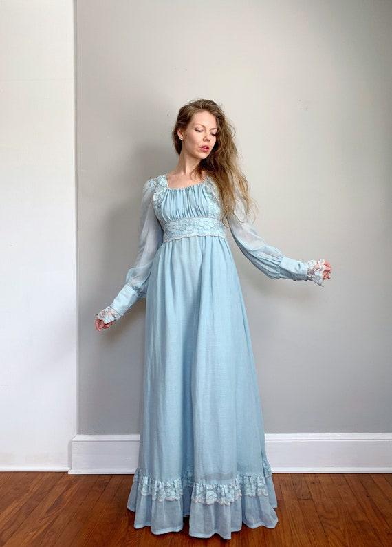 Vintage blue Gunne Sax dress   maxi prairie dress… - image 1