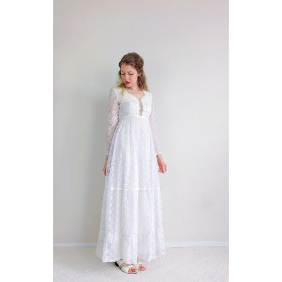 Vintage weißer Spitzenkleid Hochzeit Kleid Brautkleid Gunne