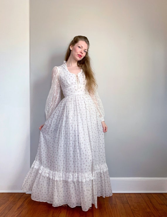Vintage floral Gunne Sax dress | white pink flora… - image 2