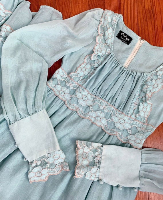 Vintage blue Gunne Sax dress   maxi prairie dress… - image 6