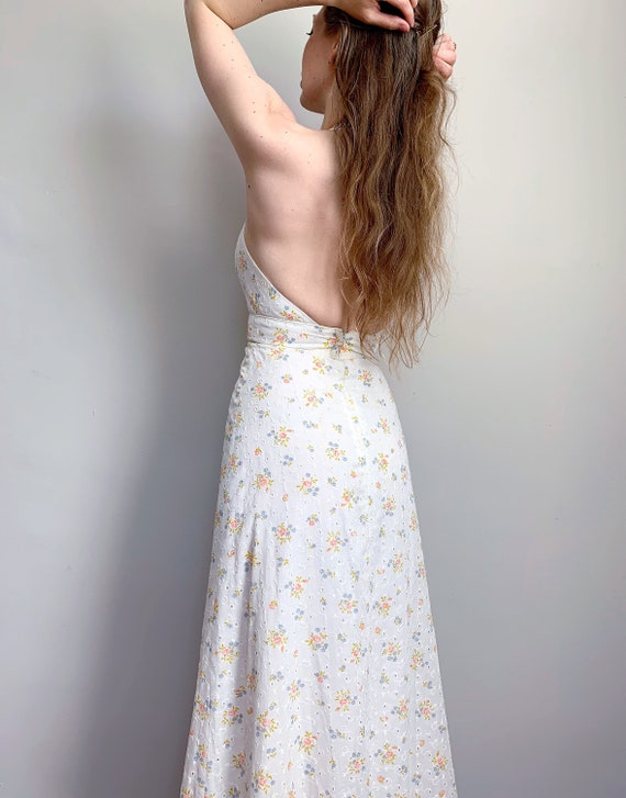 Vintage Candi Jones dress | 1970's halter white ey