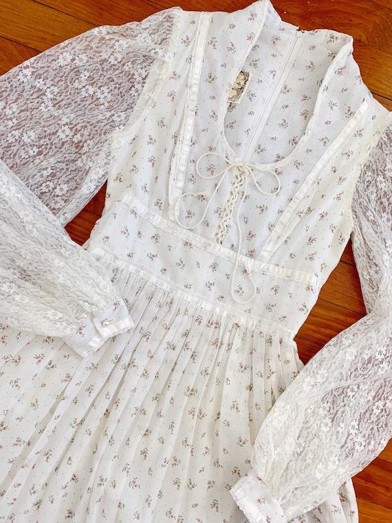 Vintage floral Gunne Sax dress | white pink flora… - image 5