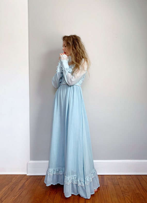 Vintage blue Gunne Sax dress   maxi prairie dress… - image 3