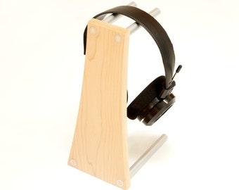 Kopfhörerständer, Kopfhörerhalter. Moderne Holz und Metall Kopfhörerbügel, Ahorn und eloxiertem Aluminium. Musik-Geschenk, Kopfhörerständer