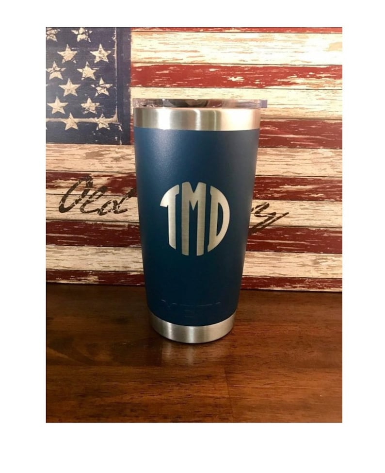 84f14db136f REAL YETI 20 oz. Laser Engraved Stainless Steel Navy Yeti Rambler  Personalized Vacuum Insulated YETI