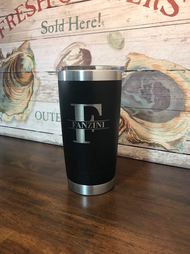 854c89d115b REAL YETI 20 oz. Laser Engraved Black Stainless Steel Yeti Rambler  Personalized Vacuum Insulated YETI