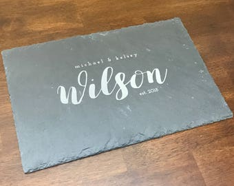 Engraved Slate Cutting Board, Personalized Cutting Board, Customized Wedding Anniversary Gift