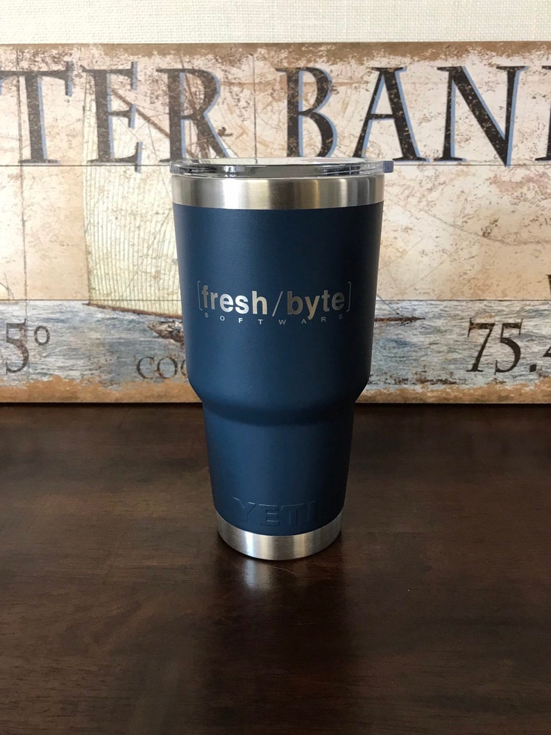 809e2d013cc REAL YETI 30 oz. Laser Engraved Navy Stainless Steel Yeti Rambler  Personalized Vacuum Insulated YETI