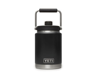 REAL 1/2 GALLON Black YETI Rambler Laser Engraved Stainless Steel Yeti 64oz Personalized Vacuum Insulated